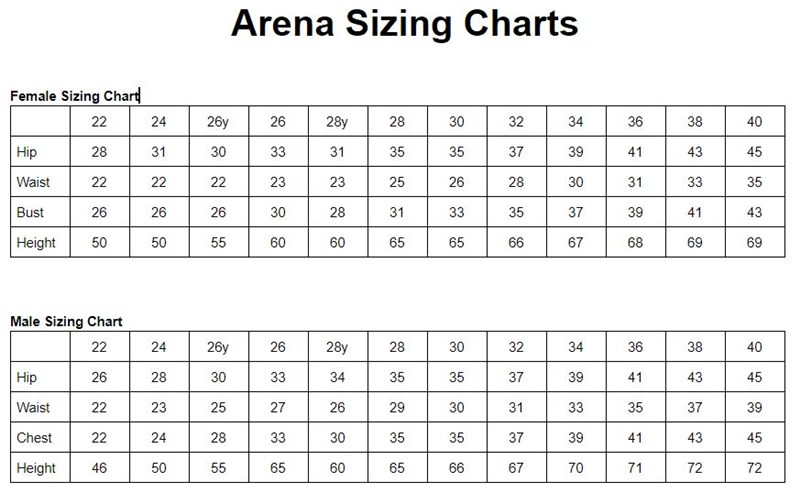Image result for arena swimsuit size guide